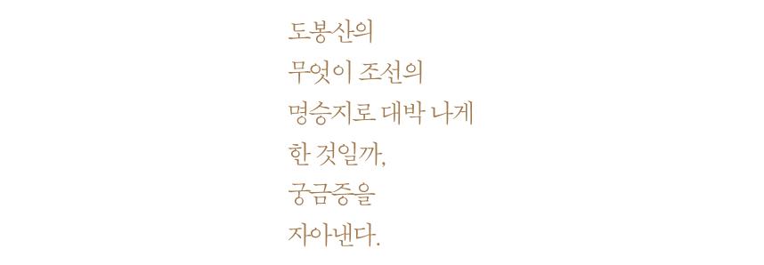 도봉산의무엇이 조선의 명승지로 대박 나게 한 것일까, 궁금증을 자아낸다.