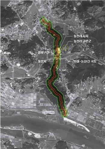 부여 나성 정비 대상구간 위성사진