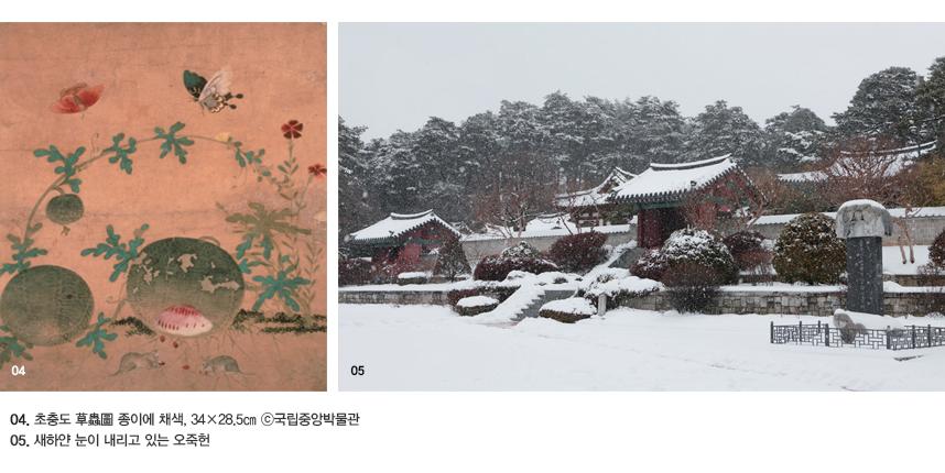 04. 초충도 草蟲圖 종이에 채색, 34×28.5㎝ ⓒ국립중앙박물관 05. 새하얀 눈이 내리고 있는 오죽헌