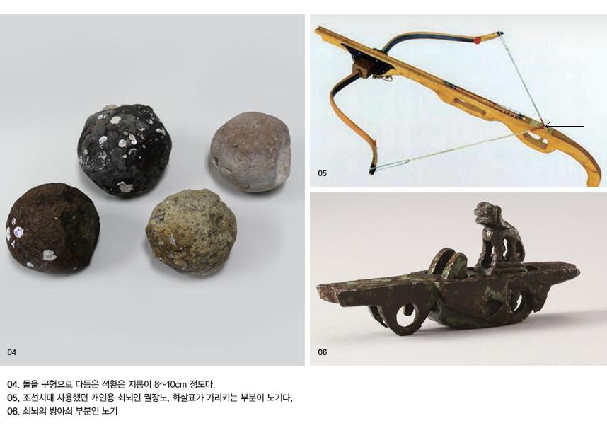 04. 돌을 구형으로 다듬은 석환은 지름이 8~10cm 정도다. 05. 조선시대 사용했던 개인용 쇠뇌인 궐장노. 화살표가 가리키는 부분이 노기다. 06. 쇠뇌의 방아쇠 부분인 노기