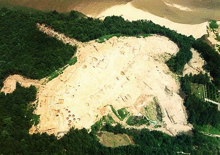 공주정지산백제유적발굴지전경