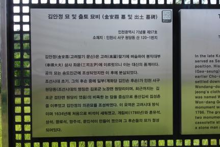 김안정 묘 및 출토 묘비