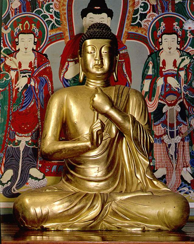 Seated Gilt-Bronze Vairocana Buddha Statue in Bulguksa Temple