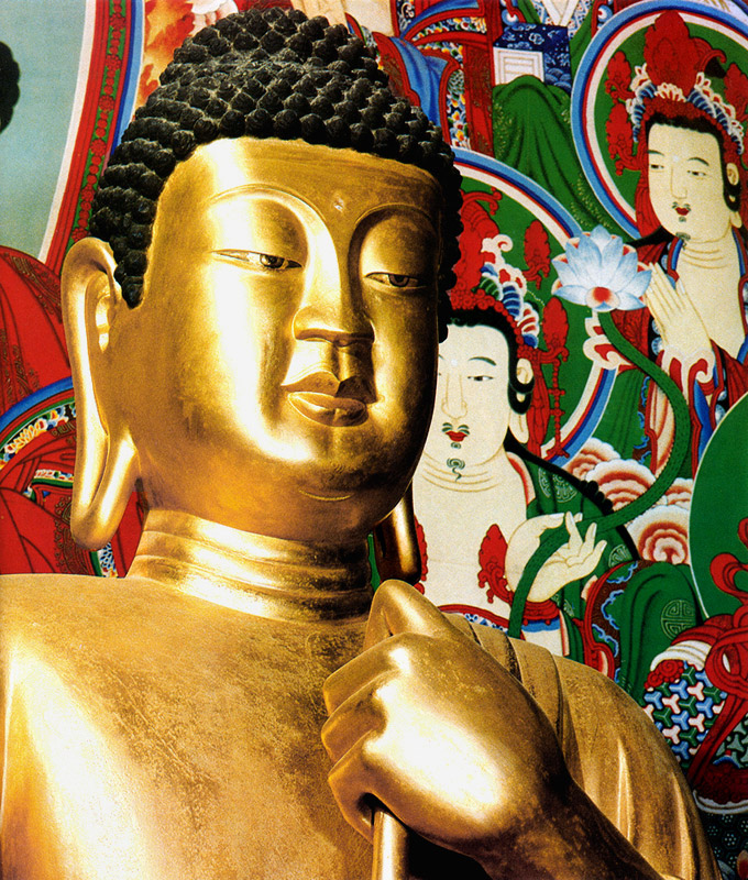 The Facial Expression of Seated Gilt-Bronze Vairocana Buddha Statue in Bulguksa Temple