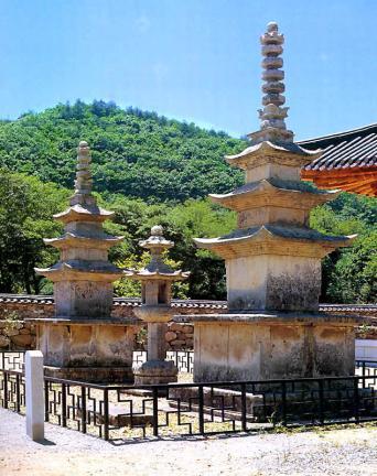 장흥 보림사 남ㆍ북 삼층석탑 및 석등 전경