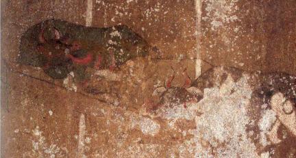 안악 3호분 동측실 남벽 외양간(「고구려 벽화고분 보존 실태조사보고서」참고)