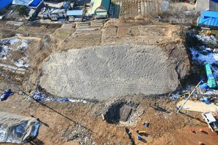군산 산북동 공룡과 익룡발자국 화석산지(항공사진)