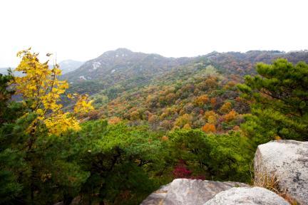 말바위 가는길 중간에서 본 백악산 가을전경