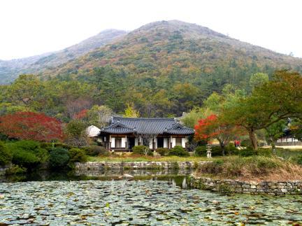 정원 중앙에서본 운림산방 전경 (가을)