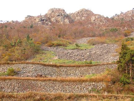 돌로쌓은논둑과응봉산