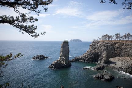 전망대에서 바라본 외돌개 와 범섬 전경