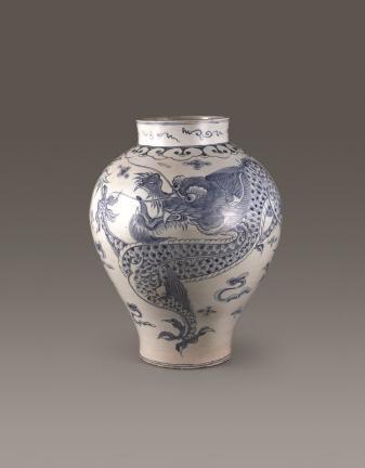 부산박물관 백자청화운룡문호