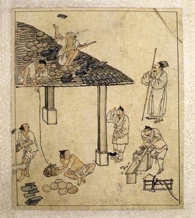 김홍도필 풍속도 화첩(金弘道筆 風俗圖 畵帖)-기와이기