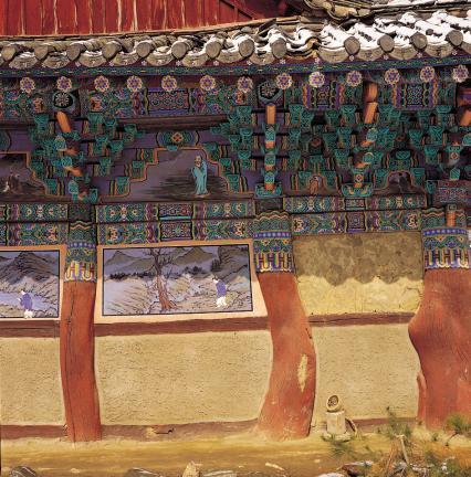 청룡사 대웅전 동쪽 일부
