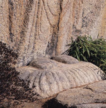 별도 조각되어 붙여 놓은 마애석불의 발과 복련대