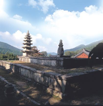 김제 금산사 오층석탑 전경