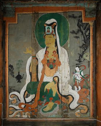 보물 제1861호 보성 대원사 극락전 관음보살,달마대사 벽화