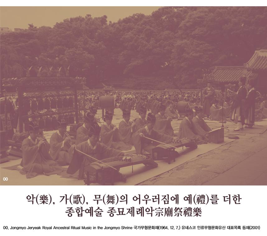 악(樂), 가(歌), 무(舞)의 어우러짐에 예(禮)를 더한 종합예술 종묘제례악宗廟祭禮樂 00.Jongmyo Jeryeak Royal Ancestral Ritual Music in the Jongmyo Shrine 국가무형문화재(1964. 12. 7.) 유네스코 인류무형문화유산 대표목록 등재(2001)